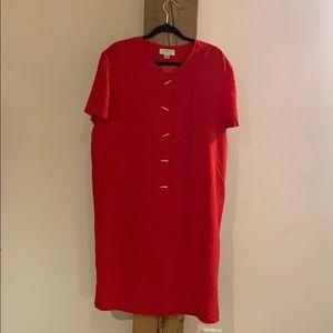 Perfect 100% silk vintage red midi